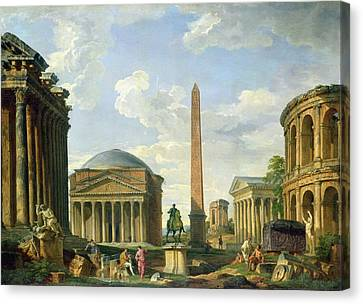 Ruins Canvas Print - The Pantheon And Other Monuments 1735 by Giovani Paolo Panini