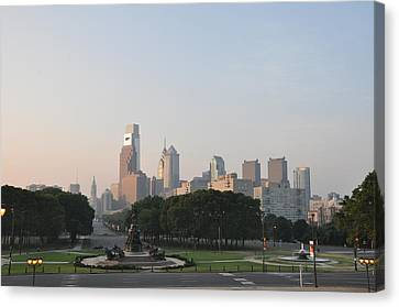 The Parkway And Center City Philadelphia Canvas Print by Bill Cannon