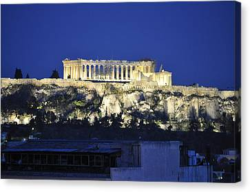 The Parthenon At Night Canvas Print by MaryJane Armstrong