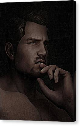Canvas Print featuring the digital art The Pensive Man - Cracked Colour by Maynard Ellis