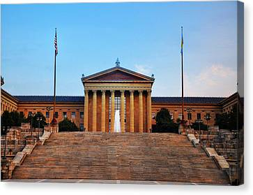 The Philadelphia Museum Of Art Front View Canvas Print by Bill Cannon
