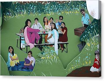 Canvas Print featuring the painting The Picnic by Jan Swaren