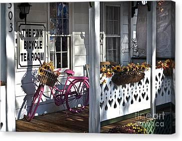 The Pink Bicycle Tea Room Canvas Print by Jane Brack