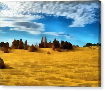 Canvas Print featuring the digital art The Pinnacles Nambung National Park by Roberto Gagliardi