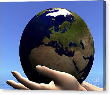 The Planet Earth Is Held In Caring Canvas Print by Corey Ford