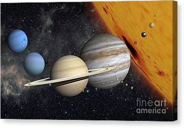 The Planets And Larger Moons To Scale Canvas Print by Ron Miller