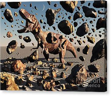 The Powerful T-rex Shatters Its Rock Canvas Print