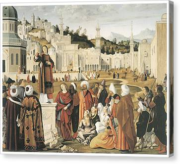 The Preaching Of Saint Stephen In Jerusalem Canvas Print by Vittore Carpaccio
