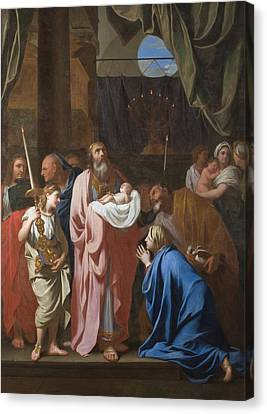 The Presentation Of Christ In The Temple Canvas Print by Charles Le Brun