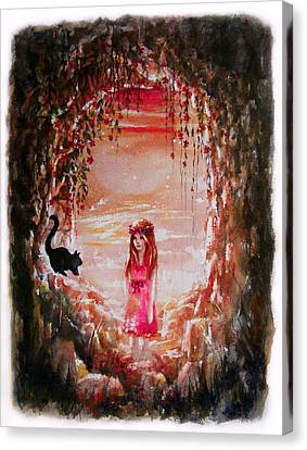 Flower Pink Fairy Child Canvas Print - The Princess And The Cat by Rachel Christine Nowicki