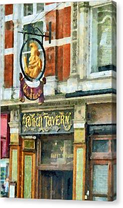 The Punch Tavern At 99 Fleet Street In London Canvas Print by Steve Taylor