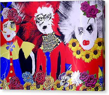Canvas Print featuring the drawing 'the Punks 'come Out To Play by Rc Rcd