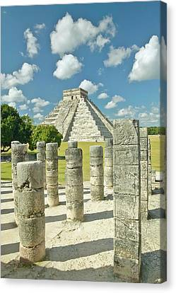 The Pyramid Of Kukulkan, (also Known As El Castillo), A Mayan Ruin, As Seen From The Thousand Columns (foreground), Chichen Itza, Mexico Canvas Print by VisionsofAmerica/Joe Sohm