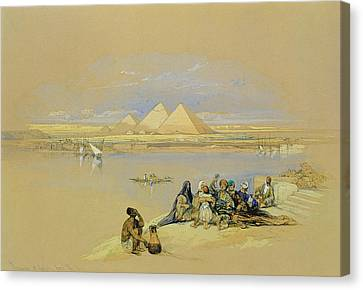 The Pyramids At Giza Near Cairo Canvas Print by David Roberts