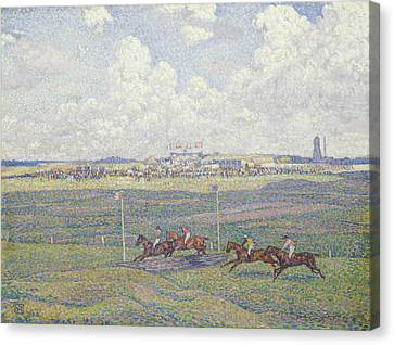 The Racecourse At Boulogne-sur-mer Canvas Print by Theo van Rysselberghe