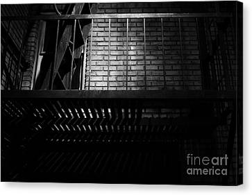 Fire Escape Canvas Print - The Rear Window - Bw - 7d17463 by Wingsdomain Art and Photography