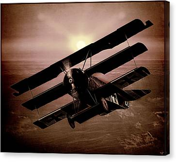 Canvas Print featuring the photograph The Red Baron's Fokker At Sunset by Chris Lord