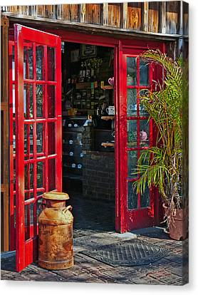 Canvas Print featuring the photograph The Red Doors by Judy  Johnson