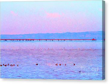 The Red Pier . 7d12310 Canvas Print by Wingsdomain Art and Photography