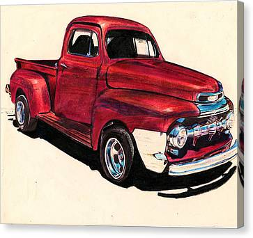 The Red Truck Canvas Print by Cheryl Poland