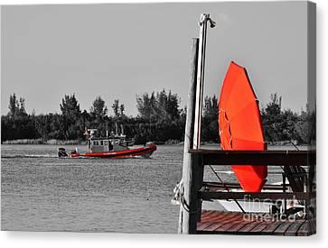 The Red Umbrella And The Coast Guard Boat Canvas Print