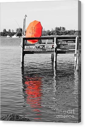 The Red Umbrella Canvas Print by Lynda Dawson-Youngclaus