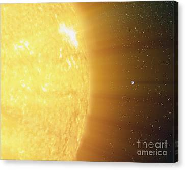 Sun Rays Canvas Print - The Relative Sizes Of The Sun by Stocktrek Images