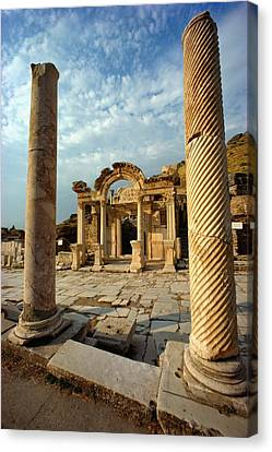 The Remains Of Hadrians Gate At Ephesus Canvas Print by Gordon Gahan