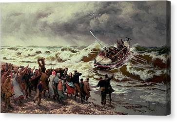 The Return Of The Lifeboat Canvas Print by Thomas Rose Miles