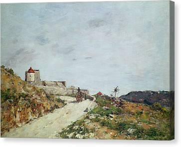 Horse And Cart Canvas Print - The Road To The Citadel At Villefranche by Eugene Louis Boudin
