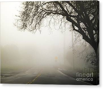Canvas Print featuring the photograph The Road To Work by Leslie Hunziker