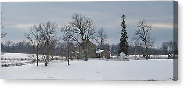 The Rose Farm In The Snow At Gettysburg Canvas Print