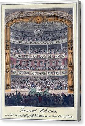 The Royal Coburg Theatre And Audience Canvas Print by Everett