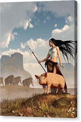 The Savage Hunting Pig Canvas Print by Daniel Eskridge