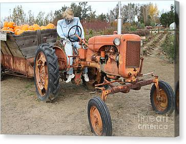 The Scarecrow Riding On The Old Farm Tractor . 7d10300 Canvas Print by Wingsdomain Art and Photography