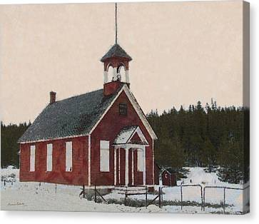 The School House Painterly Canvas Print by Ernie Echols