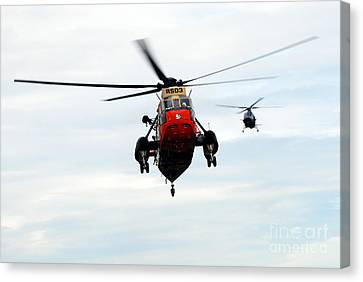 The Sea King Helicopter And The Agusta Canvas Print by Luc De Jaeger
