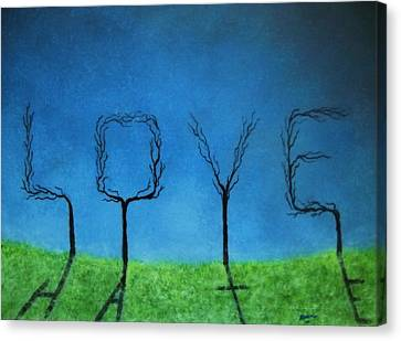 Canvas Print featuring the painting The Shadow Of Love Is Hate by Edwin Alverio