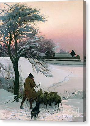 The Shepherd Canvas Print by EF Brewtnall