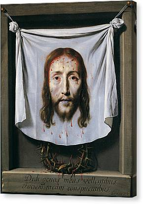 The Shroud Of St Veronica Canvas Print by Philippe de Champaigne