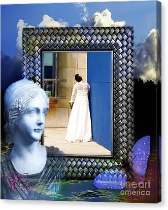 Canvas Print featuring the digital art The Shy Bride by Rosa Cobos