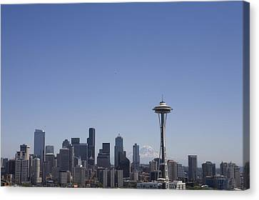The Skyline Of Seattle On A Sunny Canvas Print by Taylor S. Kennedy