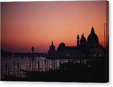 The Skyline Of Venice Silhouetted Canvas Print by Nicole Duplaix