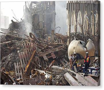 The Smoking Remains Of The World Trade Canvas Print by Everett