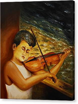 Canvas Print featuring the painting The Sound Of Music by Itzhak Richter