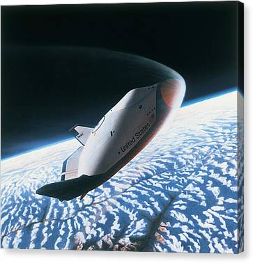 The Space Shuttle Re-entering The Earths Atmosphere Canvas Print by Stockbyte