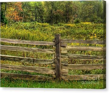 Split Rail Fence Canvas Print - The Split Rail Meadow by Benanne Stiens