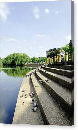 The Steps Of Derby River Gardens Canvas Print by Rod Johnson