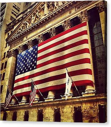 Cities Canvas Print - The Stock Exchange Gets Patriotic by Luke Kingma