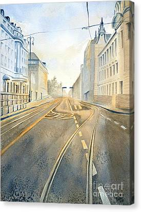 Canvas Print featuring the painting The Streets Of Zagreb  by Eleonora Perlic